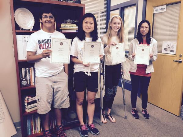 Celebrating with Lauren Shen, Molly Bingham, Nikhil Mehta, & Odette Young. Congrats on your history day awards!